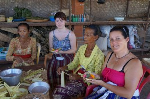 "Helping the local women prepare the ""Ceremonies"""