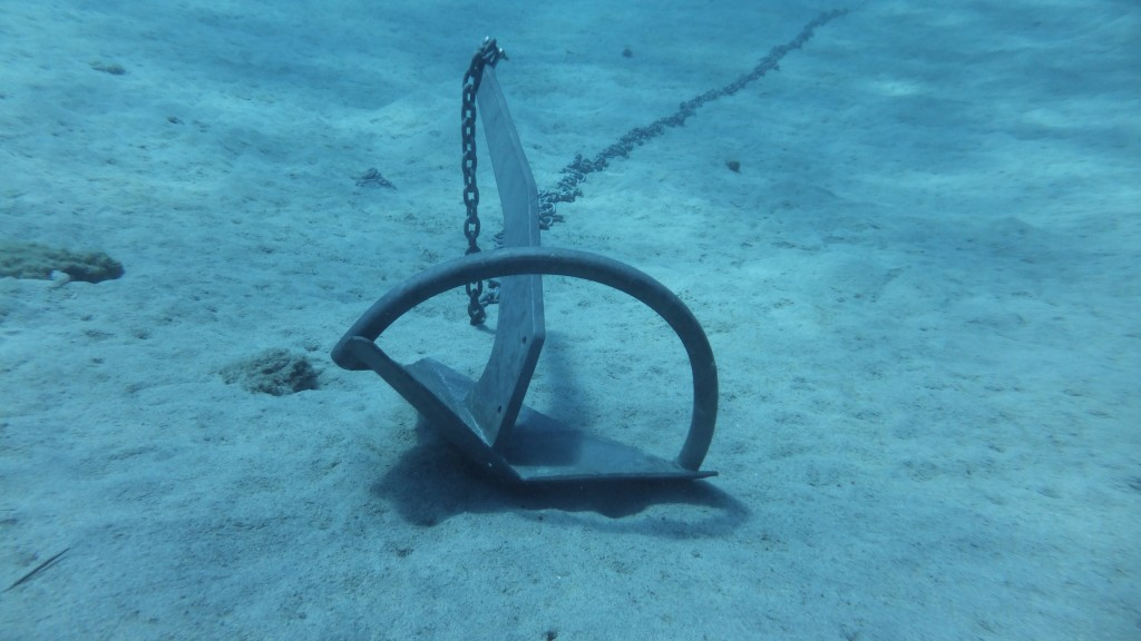 So interesting to be able to check the anchor. Such little current here, the anchor just sits on the sandy bottom