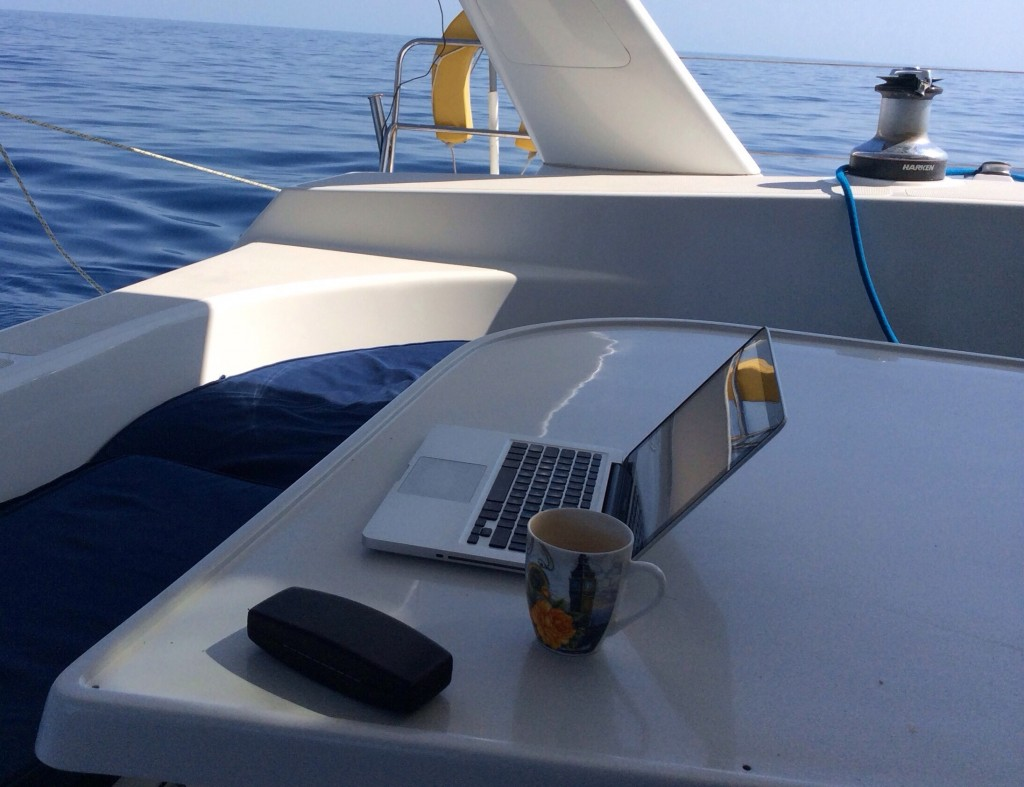 My blogging office and the glassy ocean beyond!
